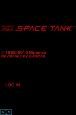 Title screen of the game 3D Space Tank on Nintendo DSi