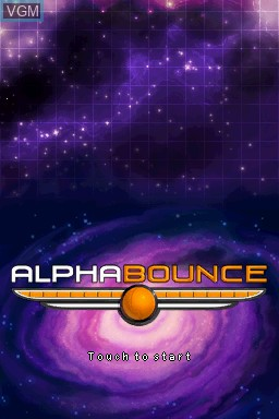 Title screen of the game AlphaBounce on Nintendo DSi