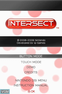 Title screen of the game Art Style - INTERSECT on Nintendo DSi