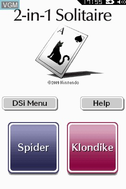 Title screen of the game 2-in-1 Solitaire on Nintendo DSi