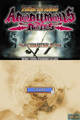 Title screen of the game Anonymous Notes - Chapter 2 - From the Abyss on Nintendo DSi