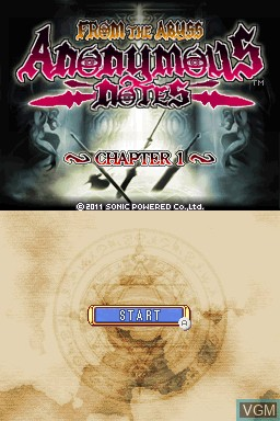 Title screen of the game Anonymous Notes - Chapter 1 - From the Abyss on Nintendo DSi