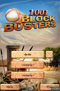 Title screen of the game 1001 Blockbusters on Nintendo DSi