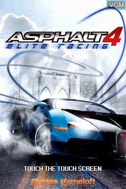 Title screen of the game Asphalt 4 - Elite Racing on Nintendo DSi