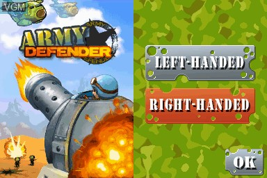 Title screen of the game Army Defender on Nintendo DSi