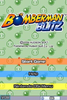 Title screen of the game Bomberman Blitz on Nintendo DSi