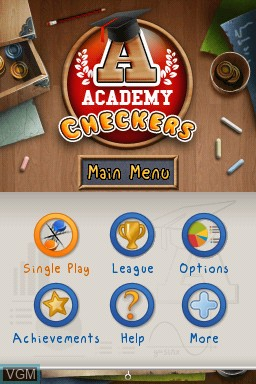 Title screen of the game Academy - Checkers on Nintendo DSi