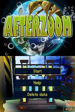 Title screen of the game Afterzoom on Nintendo DSi