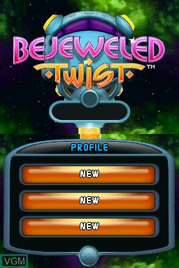 Title screen of the game Bejeweled Twist on Nintendo DSi