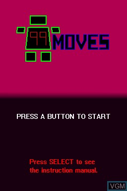Title screen of the game 99Moves on Nintendo DSi