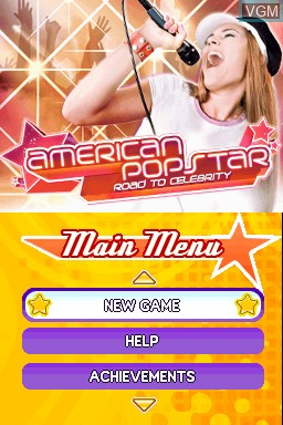 Title screen of the game American Popstar - Road to Celebrity on Nintendo DSi