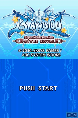 Title screen of the game BlayzBloo - Super Melee Brawlers Battle Royale on Nintendo DSi