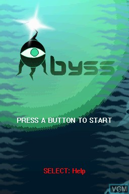 Title screen of the game Abyss on Nintendo DSi