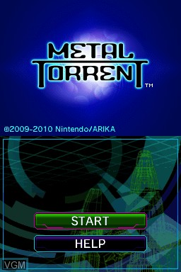 Title screen of the game Metal Torrent on Nintendo DSi