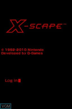 Title screen of the game X-Scape on Nintendo DSi