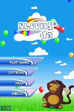 Title screen of the game Bloons TD on Nintendo DSi