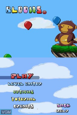 Title screen of the game Bloons on Nintendo DSi