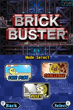 Title screen of the game Absolute BrickBuster on Nintendo DSi
