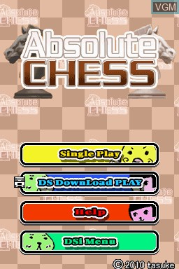 Title screen of the game Absolute Chess on Nintendo DSi