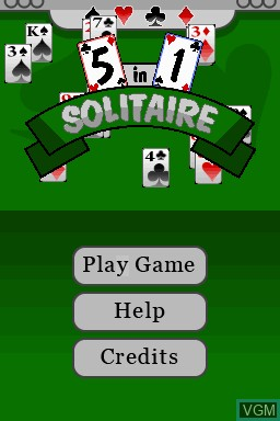 Title screen of the game 5 in 1 Solitaire on Nintendo DSi