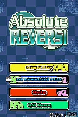 Title screen of the game Absolute Reversi on Nintendo DSi