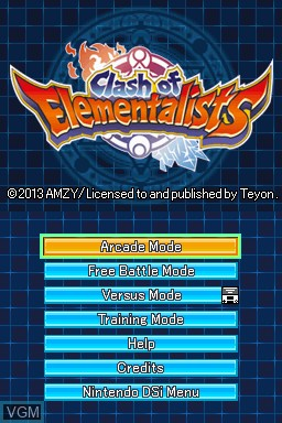 Title screen of the game Clash of Elementalists on Nintendo DSi
