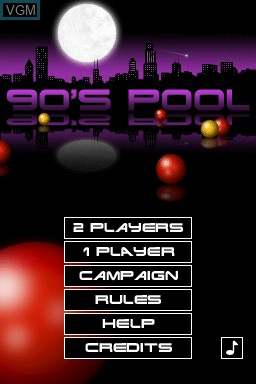Title screen of the game 90's Pool on Nintendo DSi