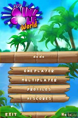 Title screen of the game 101 MiniGolf World on Nintendo DSi