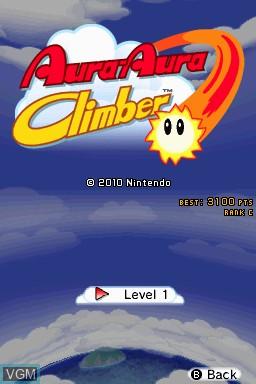 Menu screen of the game Aura-Aura Climber on Nintendo DSi