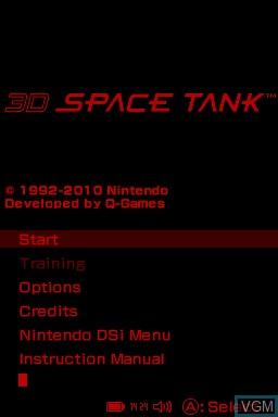Menu screen of the game 3D Space Tank on Nintendo DSi