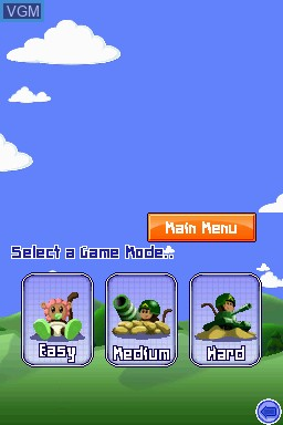 Menu screen of the game Bloons TD 4 on Nintendo DSi
