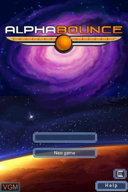 Menu screen of the game AlphaBounce on Nintendo DSi