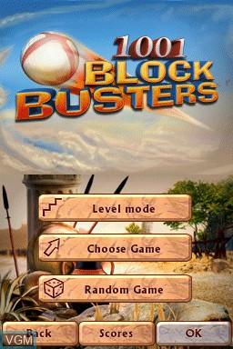 Menu screen of the game 1001 Blockbusters on Nintendo DSi