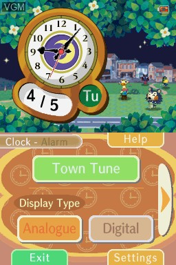 Menu screen of the game Animal Crossing Clock on Nintendo DSi