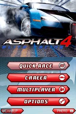 Menu screen of the game Asphalt 4 - Elite Racing on Nintendo DSi