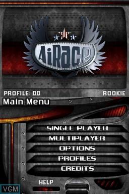 Menu screen of the game AiRace on Nintendo DSi