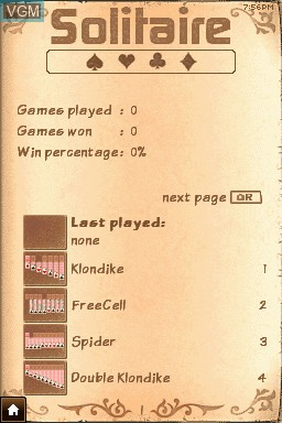 Menu screen of the game 24-7 Solitaire on Nintendo DSi