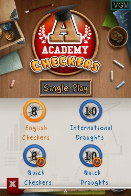 Menu screen of the game Academy - Checkers on Nintendo DSi