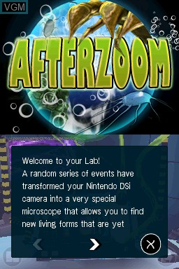 Menu screen of the game Afterzoom on Nintendo DSi