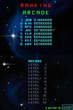 Menu screen of the game 99Bullets on Nintendo DSi