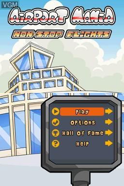 Menu screen of the game Airport Mania - Non-Stop Flights on Nintendo DSi