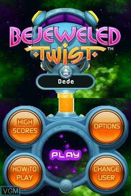 Menu screen of the game Bejeweled Twist on Nintendo DSi