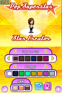Menu screen of the game American Popstar - Road to Celebrity on Nintendo DSi