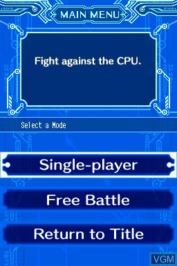 Menu screen of the game BlayzBloo - Super Melee Brawlers Battle Royale on Nintendo DSi
