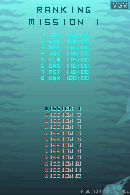 Menu screen of the game Abyss on Nintendo DSi