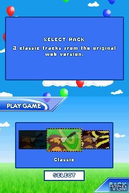 Menu screen of the game Bloons TD on Nintendo DSi