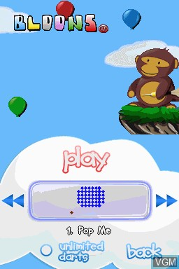 Menu screen of the game Bloons on Nintendo DSi