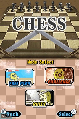 Menu screen of the game Absolute Chess on Nintendo DSi