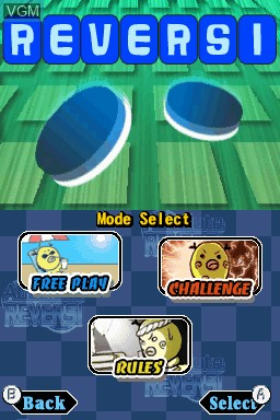 Menu screen of the game Absolute Reversi on Nintendo DSi
