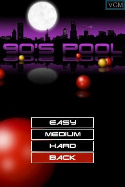 Menu screen of the game 90's Pool on Nintendo DSi